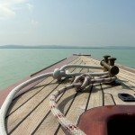 lake balaton with boat